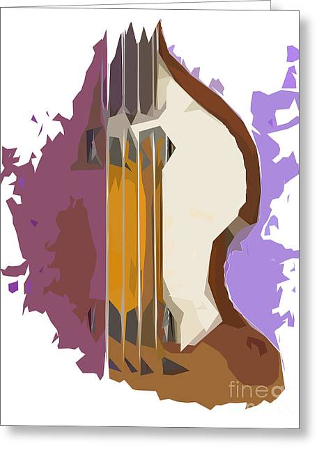 Hofner Greeting Cards - Brown Bass Purple Background 2 Greeting Card by Pablo Franchi