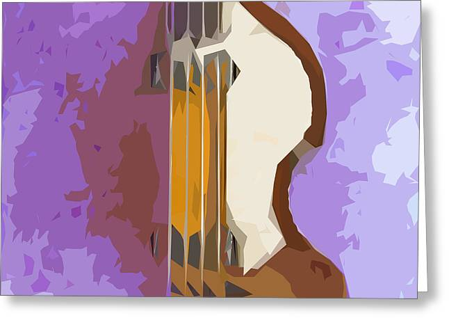 Hofner Greeting Cards - Brown Bass Purple Background 5 Greeting Card by Pablo Franchi