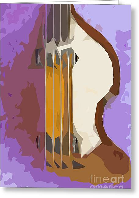 Hofner Greeting Cards - Brown Bass Purple Background Greeting Card by Pablo Franchi