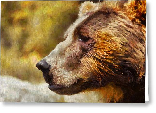 Kodiak Greeting Cards - Brown Bear Painting Greeting Card by Dan Sproul