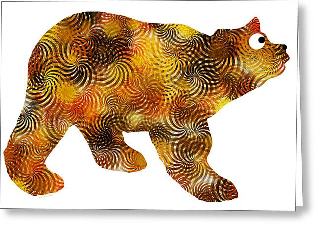 Brown Bear Digital Greeting Cards - Brown Bear Silhouette Greeting Card by Christina Rollo