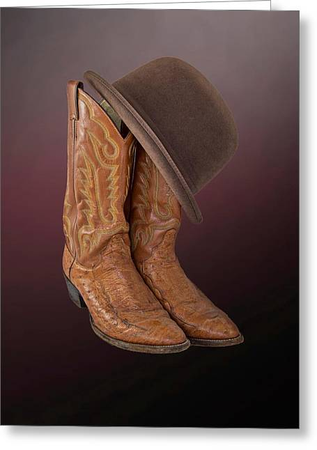 Apparel Greeting Cards - Brown Boots with a Brown Derby Greeting Card by Chandler McGrew