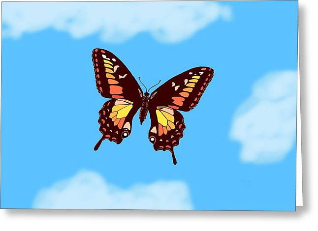 Consume Mixed Media Greeting Cards - Brown Butterfly Skyscape Greeting Card by L Brown