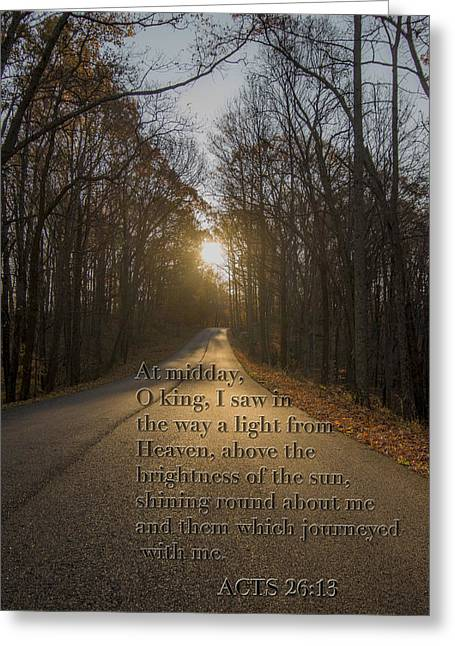 The Sun God Photographs Greeting Cards - Brown County State Park Nashville Indiana Biblical Verse Greeting Card by David Haskett