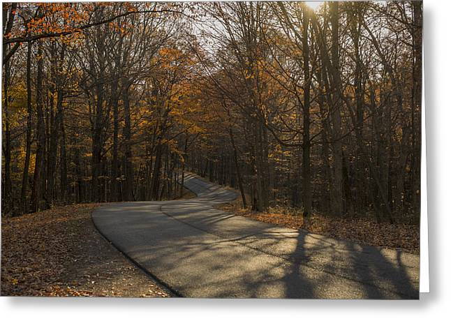 Indiana Autumn Greeting Cards - Brown County State Park Nashville Indiana Road Greeting Card by David Haskett