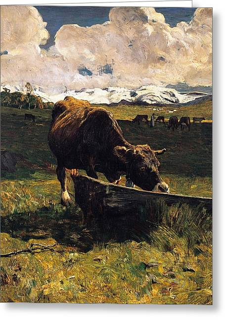 Animalia Greeting Cards - Brown cow at trough  Greeting Card by Giovanni Segantini