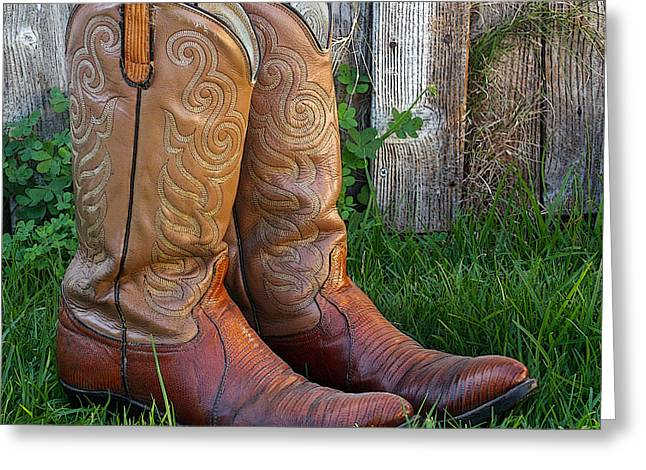 Work Boots Greeting Cards - Brown Cowboy Boots Greeting Card by Art Block Collections