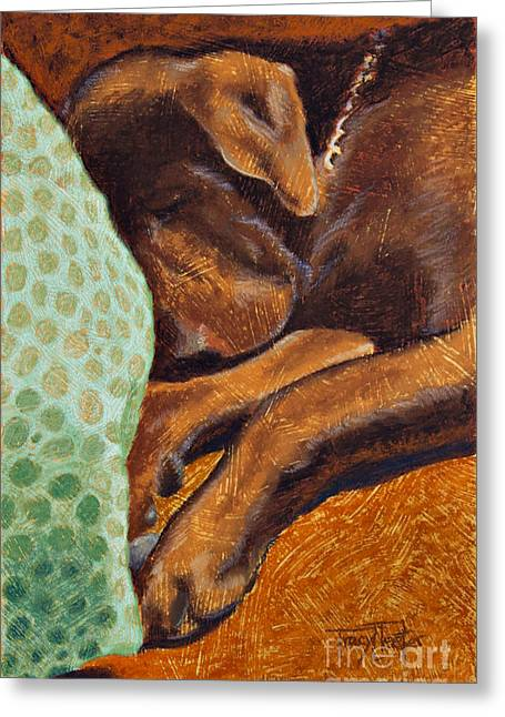 Hunter Pastels Greeting Cards - Brown Dog Greeting Card by Tracy L Teeter