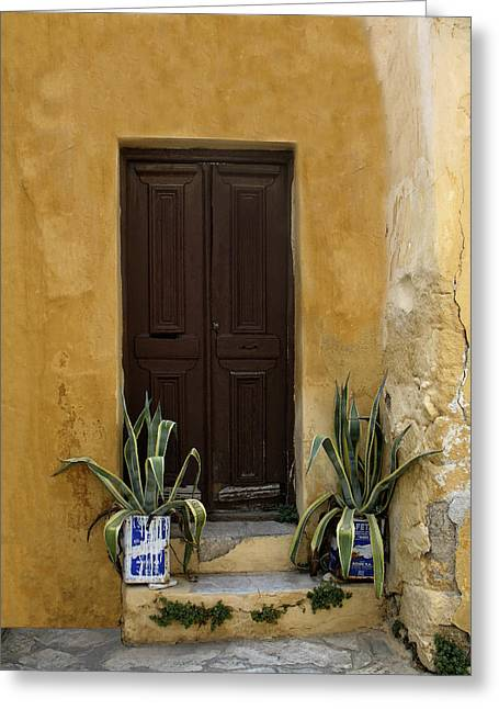 Entrance Door Greeting Cards - Brown door Athens Greeting Card by Jim  Wallace