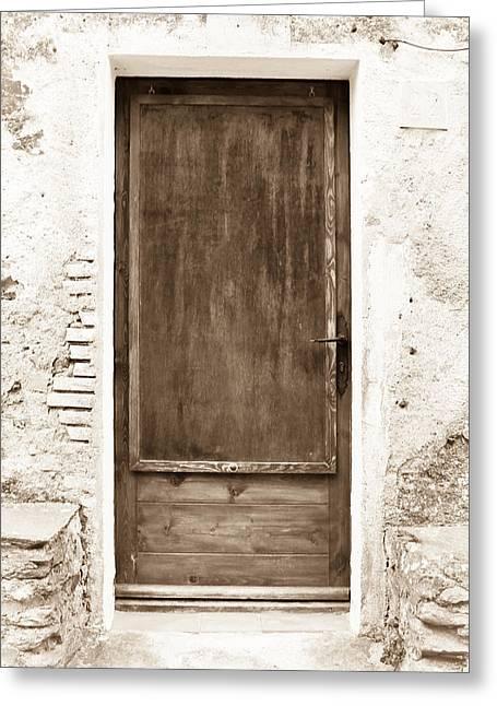 Extremadura Greeting Cards - Brown Door of Extremadura Greeting Card by Calvin Hanson