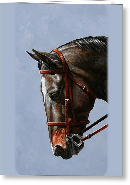 Black Horses Greeting Cards - Brown Dressage Horse Phone Case Greeting Card by Crista Forest