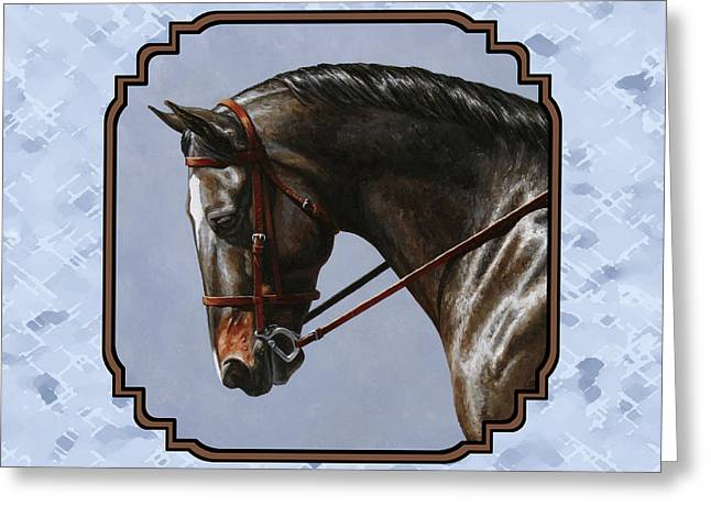 Bay Horse Greeting Cards - Brown Dressage Horse Pillow Blue Greeting Card by Crista Forest