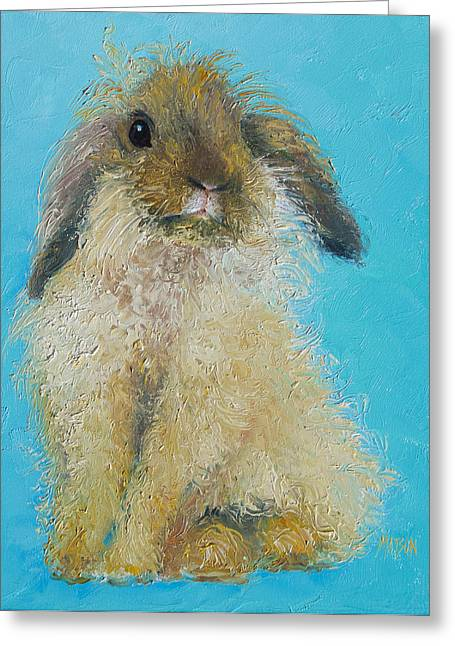 Country Cottage Greeting Cards - Brown Easter Bunny Greeting Card by Jan Matson