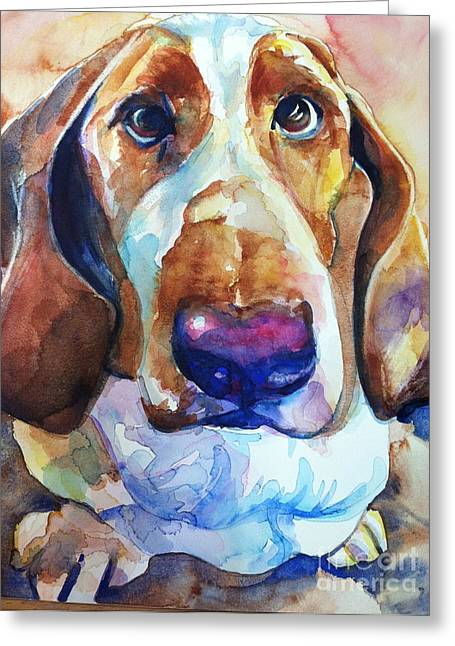 Basset Hound Prints Greeting Cards - Brown Eyes Greeting Card by Maria