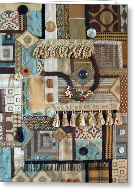 Shade Tapestries - Textiles Greeting Cards - Brown Fabric Greeting Card by Sue Gilliam