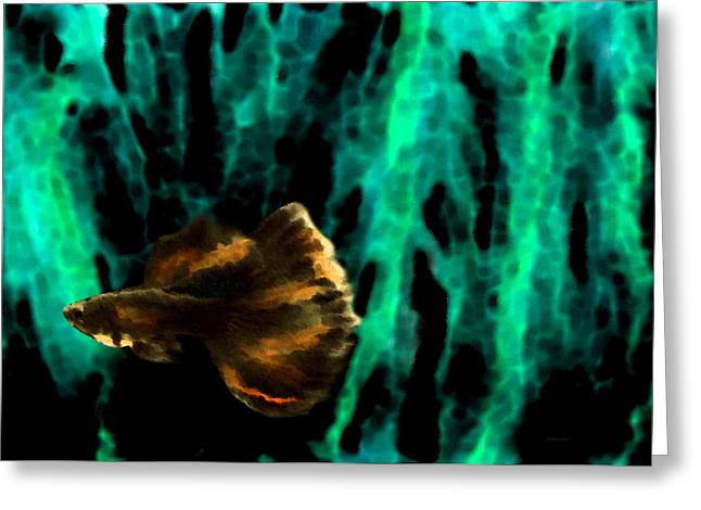 Effects Greeting Cards - Brown Fish on Green Abstract Greeting Card by Mario  Perez