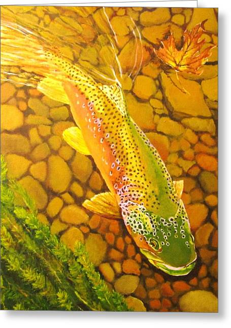 Brown Fish Greeting Card by Terry Gill