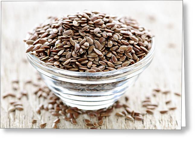 Supplement Greeting Cards - Brown flax seed Greeting Card by Elena Elisseeva