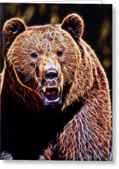 Kodiak Digital Greeting Cards - Brown Grizzly Greeting Card by Daniel Hagerman
