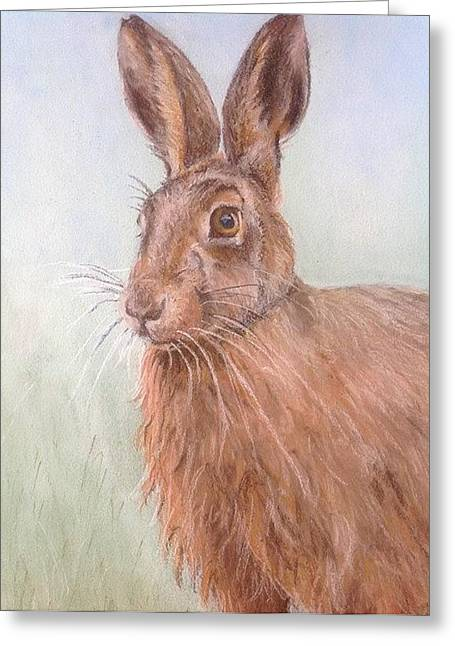 Hare Pastels Greeting Cards - Brown Hare Greeting Card by Anne Smart