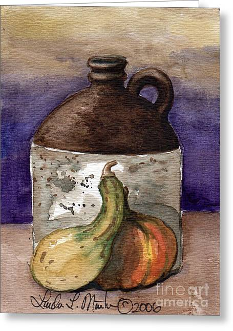 Stoneware Paintings Greeting Cards - Brown Jug and Gourds Greeting Card by Linda L Martin