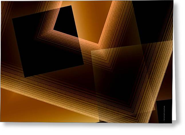 Brown Lines in Geometric Art Greeting Card by Mario  Perez