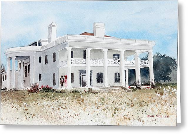 Located Greeting Cards - Brown Mansion Greeting Card by Monte Toon