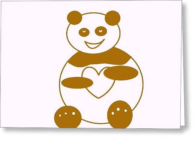 Brown Panda Greeting Card by Ausra Huntington nee Paulauskaite