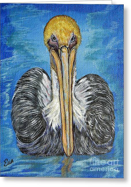 Seabirds Mixed Media Greeting Cards - Brown Pelican Floating in the Deep Blue Sea Greeting Card by Ella Kaye Dickey