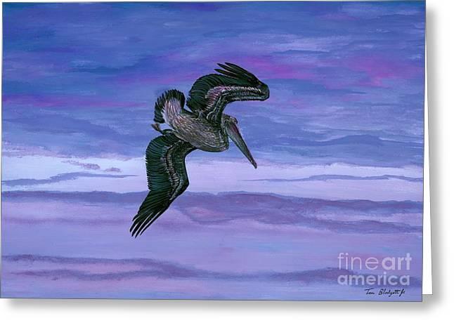 Pelican Art Greeting Cards - Brown Pelican Greeting Card by Tom Blodgett Jr