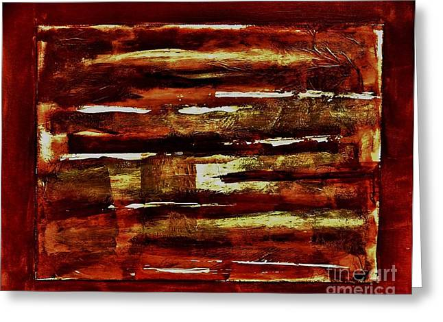 Brown Red and Golds Abstract Greeting Card by Marsha Heiken