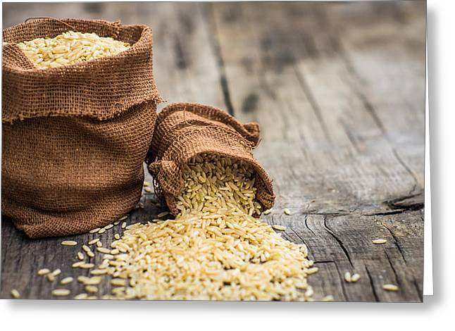Corn Seeds Greeting Cards - Brown rice bags Greeting Card by Aged Pixel
