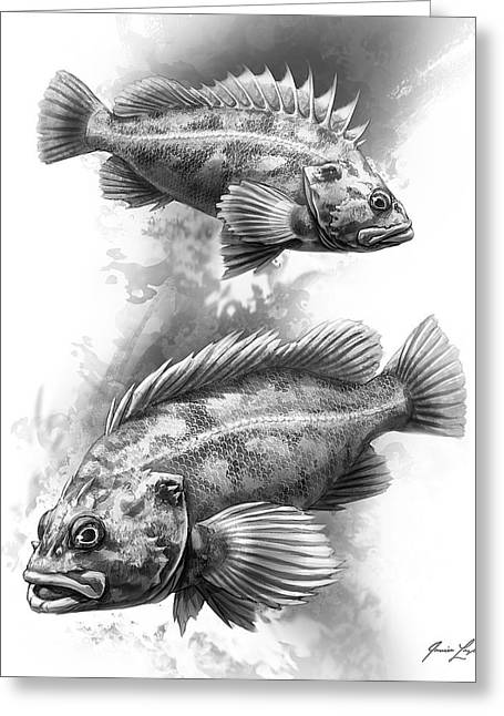Fish Digital Art Greeting Cards - Brown Rockfish Pair Greeting Card by Javier Lazo