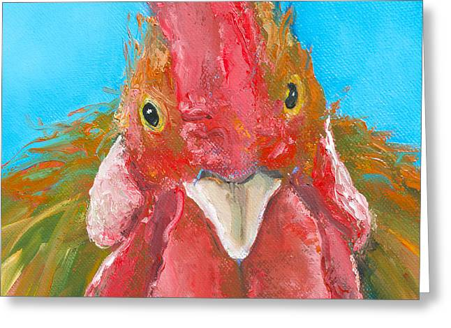 Brown Rooster On Blue Greeting Card by Jan Matson
