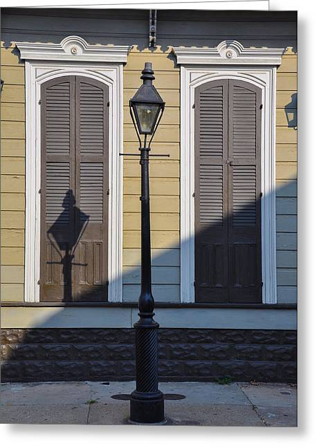 Streetlight Digital Art Greeting Cards - Brown Shutter Doors and Street Lamp - New Orleans Greeting Card by Bill Cannon