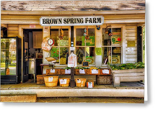 Farm Stand Greeting Cards - Brown Spring Farm Greeting Card by Allan Rube