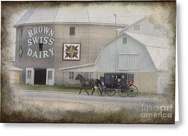 Rural Indiana Greeting Cards - Brown Swiss Barn and Amish Buggy Greeting Card by David Arment