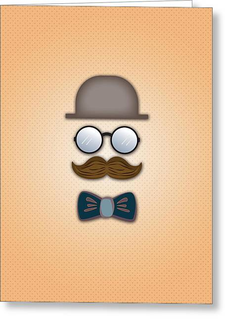 Neck Tie Greeting Cards - Brown Top Hat Moustache Glasses and Bow Tie Greeting Card by Ym Chin