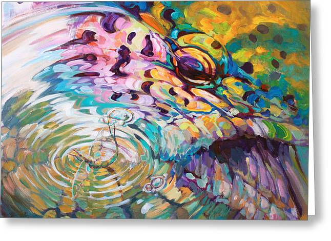 Brown Trout And Mayfly - Abstract Fly Fishing art  Greeting Card by Mike Savlen