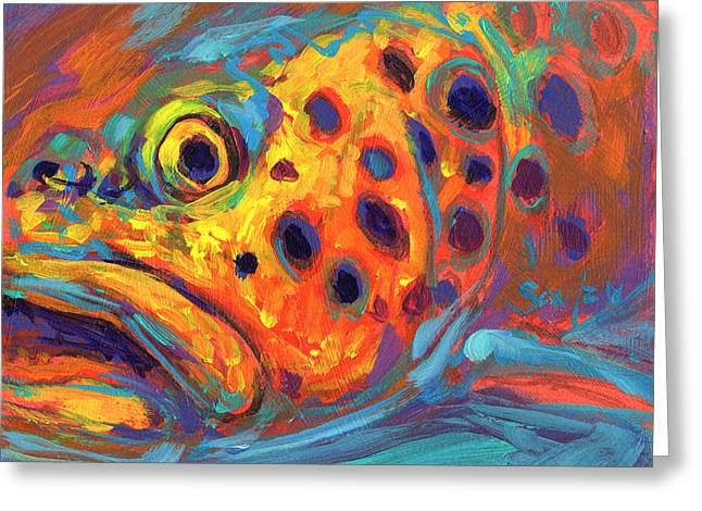Famous Artist Greeting Cards - Brown Trout Expressionist Portrait Greeting Card by Mike Savlen