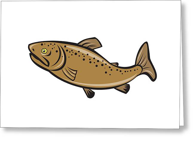 Brown Trout Digital Art Greeting Cards - Brown Trout Fish Side Cartoon Greeting Card by Aloysius Patrimonio