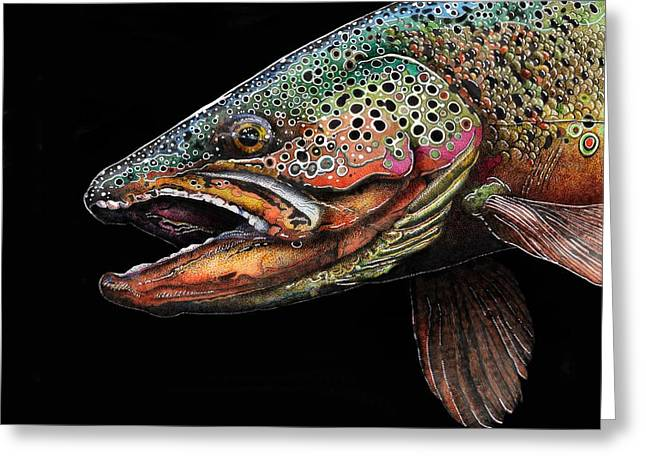 Brown Trout Head Shot No. 1 Greeting Card by Brian Murphy