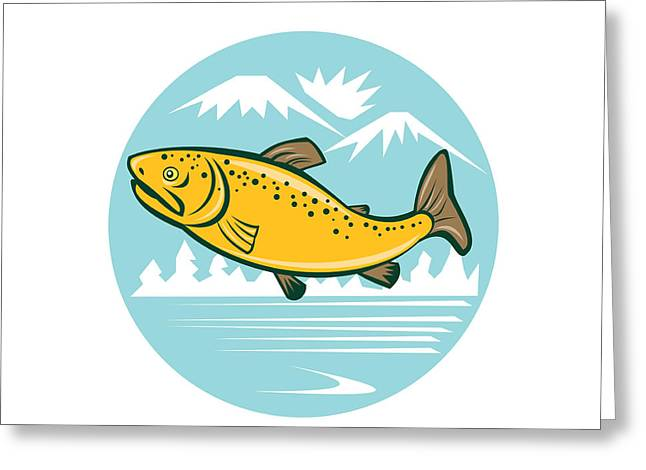 Rainbow Trout Digital Art Greeting Cards - Brown Trout Jumping Circle Cartoon Greeting Card by Aloysius Patrimonio