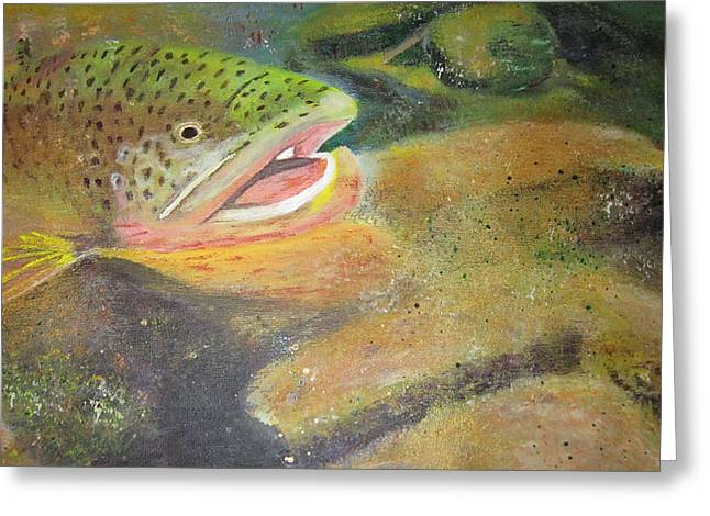 Phthalo Blue Greeting Cards - Brown trout   Greeting Card by Ordy Duker