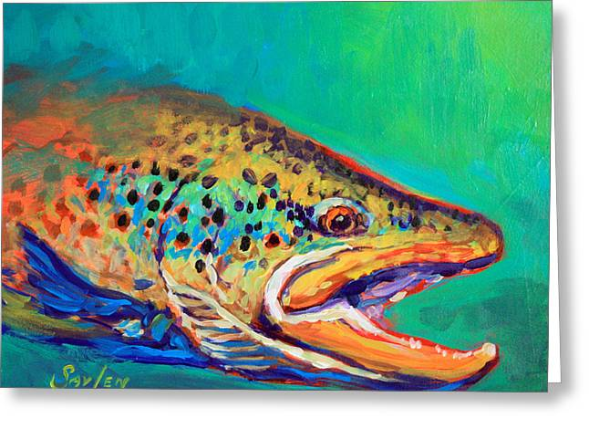 Brown Trout Greeting Cards - Brown Trout Portrait Greeting Card by Mike Savlen