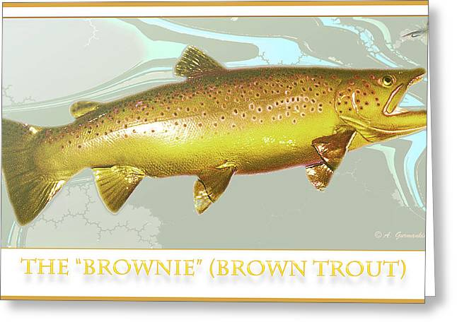 Fishing Creek Digital Art Greeting Cards - Brown Trout Rises to the Fly Greeting Card by A Gurmankin
