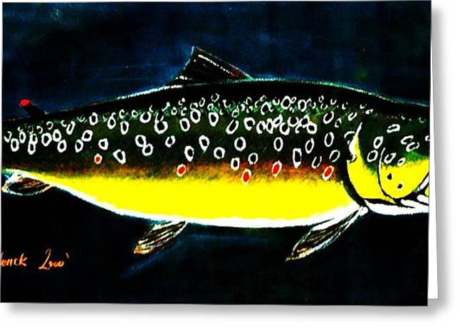 Trout Mixed Media Greeting Cards - Brown Trout Greeting Card by Sean Roderick