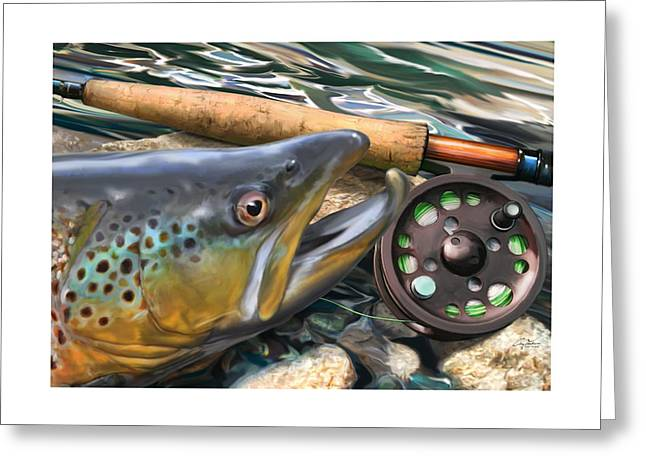 Brown Trout Sunset Greeting Card by Craig Tinder