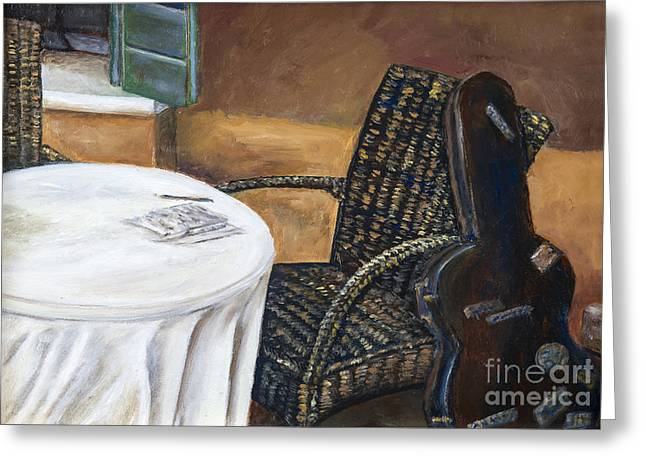 Guitar Case Greeting Cards - Brown Wicker Chair and Guitar Case by Ann Marie Fitzsimmons Greeting Card by Sheldon Kralstein