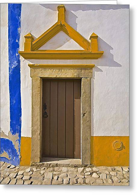 Entranceway Greeting Cards - Brown Wood Door Of Obidos Greeting Card by David Letts
